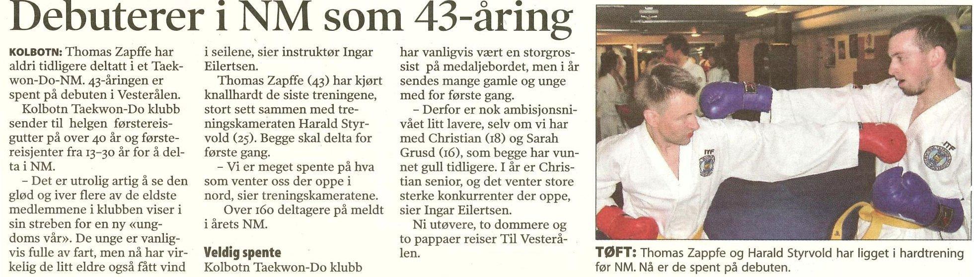 Artikkel om Thomas og Harald i ØBlad