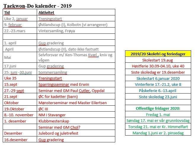 Høstens kalender 2019